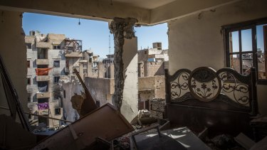 A destroyed bedroom in Raqqa, which was declared liberated in October.