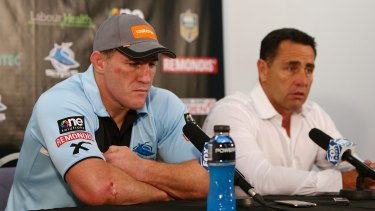 Disappointed: Sharks captain Paul Gallen and coach Shane Flanagan talk to the media after the game.