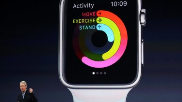 Apple CEO Tim Cook introduces the Apple Watch during an Apple event in San Francisco.