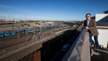 Anthony McKee is among a group of residents whose homes overlook the old North Melbourne railway yards