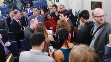 US press secretary Sean Spicer holds a briefing in his office where only selected media were allowed to attend.