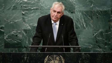 Czech President Milos Zeman at the UN General Assembly.
