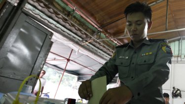 Voting early on Thursday  in Naypyitaw.