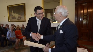 Premier Daniel Andrews is sworn in by Governor Alex Chernov at Government House on December 4 last year.