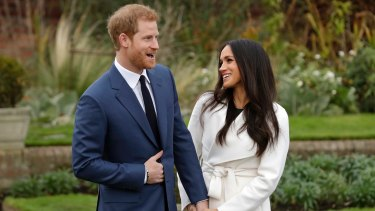 Britain's Prince Harry and his fiancee Meghan Markle at Kensington Palace.