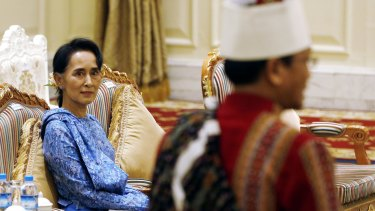 Aung San Suu Kyi attends the presidential handover ceremony in Naypyitaw in March.