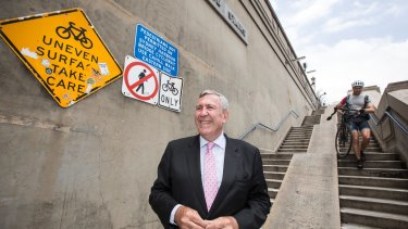Going up: Duncan Gay at the steps on the north end of the Harbour Bridge.