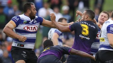 Brawl: Canterbury's Sam Kasiano and Melbourne's Will Chambers were both sent to the sin bin over a fight at Belmore in round one.