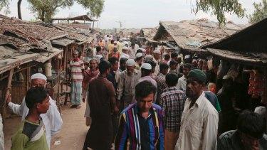Rohingya from Myanmar in an unregistered refugee camp in Teknaf,  Bangladesh.