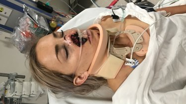 Caroline Buchanan after arriving at hospital.