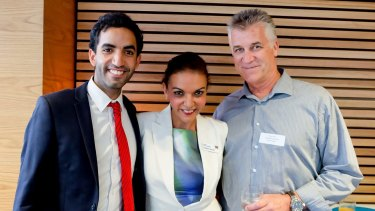 "Dr Anne Aly with her son Adam and ""fangirling"" husband Dave Allen."
