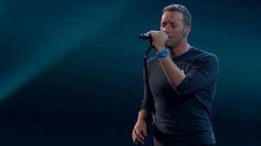 Coldplay's Chris Martin performs at the Brits.