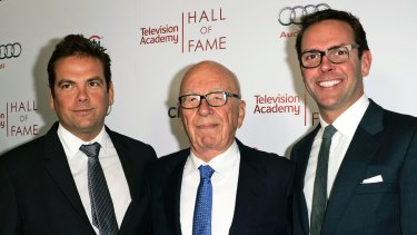Rupert Murdoch, centre, and his sons, Lachlan, left, and James Murdoch.