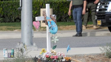 A small memorial in San Bernardino on Thursday.
