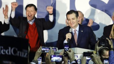 Republican presidential candidate Ted Cruz speaks during a caucus rally on Monday night.