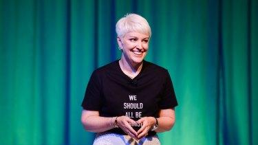 Reid speaking at the Dell Women Entrepreneurs Conference.
