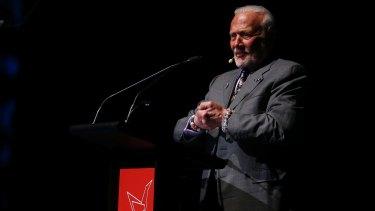 Apollo 11 astronaut Buzz Aldrin speaking in Brisbane.