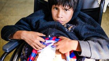 Kaiowa boy Josiel Benites, 12, was shot twice during a confrontation with farmers.