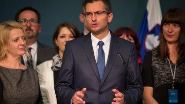 Presidential candidate Marjan Sarec in Ljubljana on Sunday.