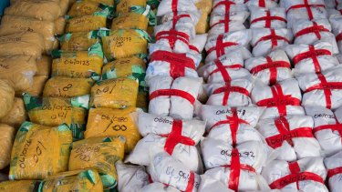 Parcels of heroin from a 915kg-seizure worth an estimated $274 million.