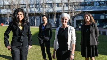 Stereotype-busting scientists (from left) Professor Veena Sahajwalla, Dr Rebecca Johnson, Professor Emma Johnston and Professor Angela Moles.