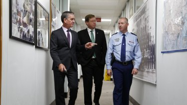 NSW Police Commissioner Andrew Scipione, NSW minister Troy Grant and Monaro Local Command superintendent Rod Smith at the Queanbeyan Police Station, which will get a $15-million makeover.