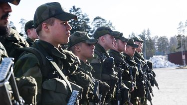 Young Swedish army recruits during an inspection last year.