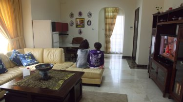 The living room in the Ewa'a shelter for women and children in Abu Dhabi. The women from Nigeria said they wanted to return home as soon as possible.