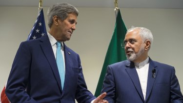 US Secretary of State John Kerry meets with Iranian Foreign Minister Mohammad Javad Zarif at United Nations headquarters in September.