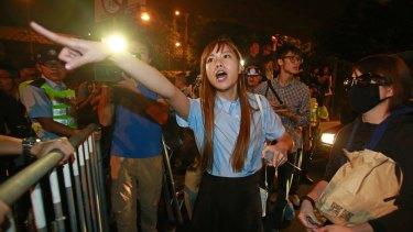 Newly elected Hong Kong lawmaker Yau Wai-ching at Sunday's protest.