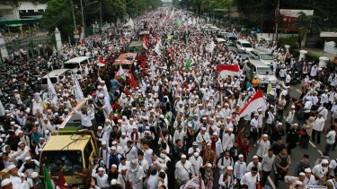 Thousands protest against Jakarta governor Basuki Tjahaja Purnama in the Indonesian capital in November.