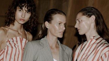 Models Roberta Pecoraro, Emma Balfour and Anneliese Seubert backstage at Christopher Esber Fashion Week Show.