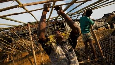 Rohingya Muslims build new shelters in Balukhali refugee camp, Bangladesh.