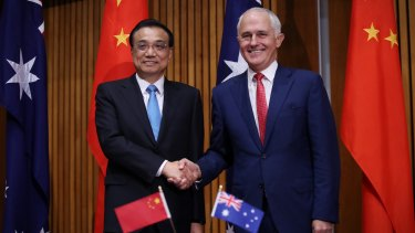 Premier Li Keqiang and Prime Minister Malcolm Turnbull in March.