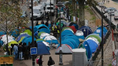 Migrants camping in Paris say they are from Sudan.