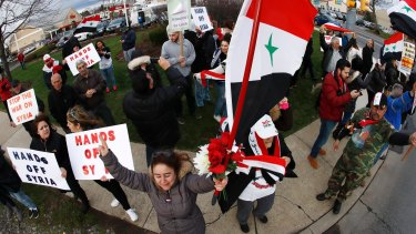 A rally opposing the US missile strikes in Syria in Allentown, Pennsylvania, which has one of America's largest Syrian populations.