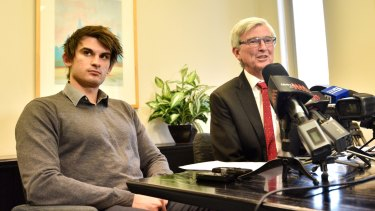 Lawyer Stephen Kenny (right) and Cassandra Sainsbury's fiance Scott Broadbridge (left), at a press conference in Adelaide.