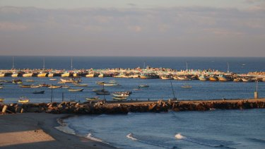 Fishing boats on the Gaza Strip's Mediterranean coast.