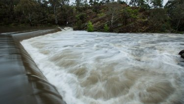 Dight's Falls in Abbotsford during the wet weather conditions in Melbourne.