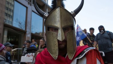 A centurion with Viking horns at the Reclaim Australia Rally.