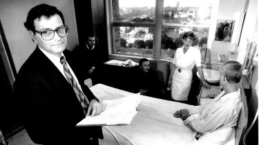 Prof. David Cooper with some members of his staff with a patient in the Aids ward of St. Vincent's Hospital, 1991.