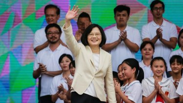 Tsai Ing-wen, Taiwan's incoming president, waves during her inauguration ceremony on Friday.