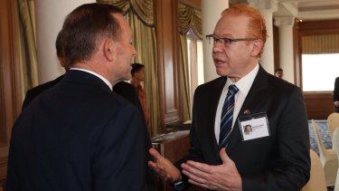 Then prime minister Tony Abbott attended a business breakfast with Anthony Pratt at the Taj Mahal Palace hotel in Mumbai.