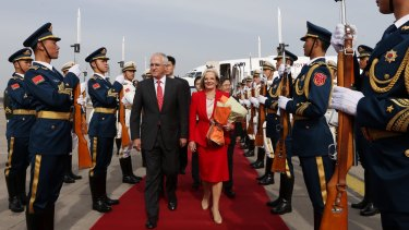 Prime Minister Malcolm Turnbull and Lucy Turnbull arrive in Beijing in April. Sally Cray often travels overseas with the PM.