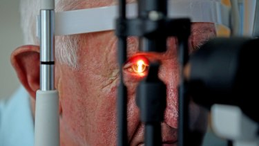 Bionic eye: Ray Flynn has his sight checked by surgeon Paulo Stanga.