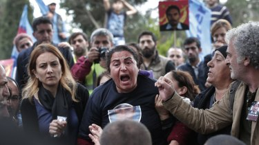 A relative of Serdar Ben, 33, one of the victims of the October 10 bombing, at  his funeral in Istanbul.