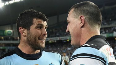 Final ride: Michael Ennis and Paul Gallen after defeating the Cowboys on Friday night.