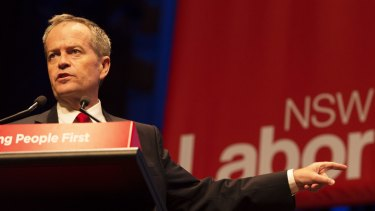 Bill Shorten speaking at the NSW ALP Conference at Sydney's Town Hall on Saturday.