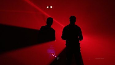 Drones approach performers in <i>A Drone Opera</i>.