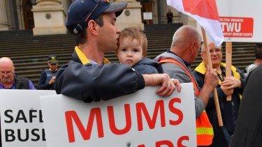 Victorian bus drivers wanting greater protections protest on the steps of State Parliament on November 15, 2016.